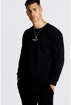 Mens Black Official MAN Print Sweatshirt