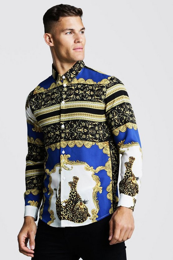 Mens Cobalt Cheetah Baroque Long Sleeve Shirt