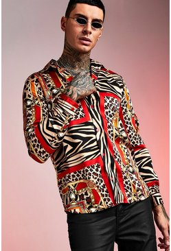 Mens Animal Tile Print Long Sleeve Shirt