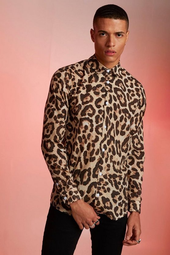 Animal Print Relaxed Fit Long Sleeve Shirt