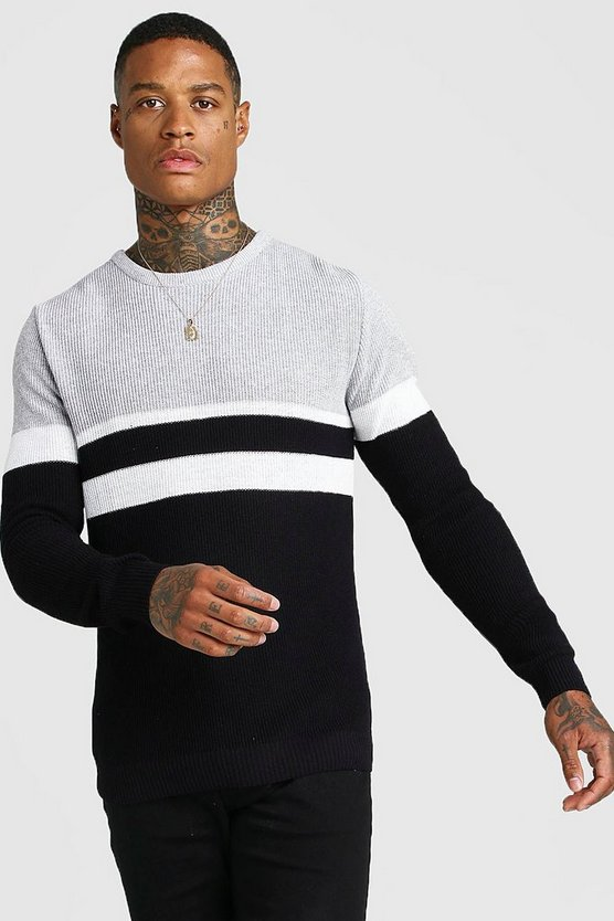 Mens Black Muscle Fit Ribbed Colour Block Turtle Neck Jumper
