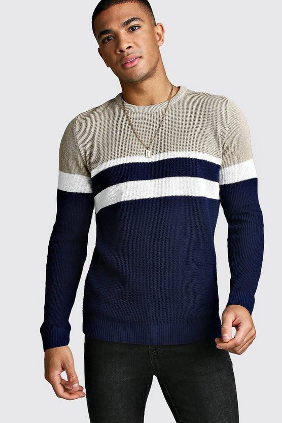 Mens Navy Muscle Fit Ribbed Colour Block Turtle Neck Jumper