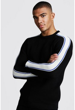 Mens Black Long Sleeve Muscle Fit Knitted Side Stripe Jumper