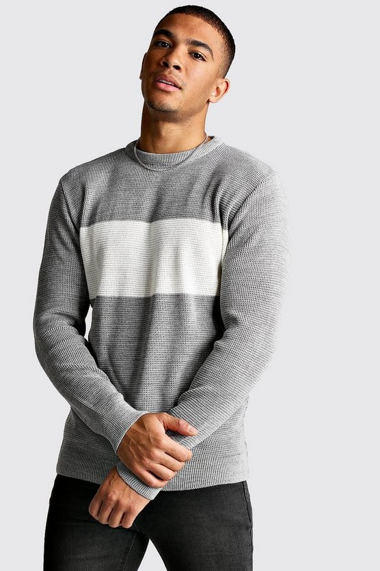 Light grey Long Sleeve Colour Block Knitted Jumper