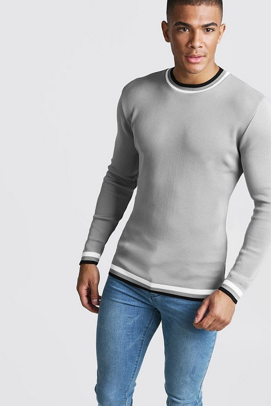 Mens Light grey Muscle Fit Long Sleeve Knitted Tipping Jumper