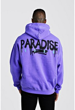 Mens Purple Oversized Paradise Back Print Hoodie