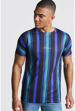 Mens Green MAN Signature Vertical Stripe T-Shirt