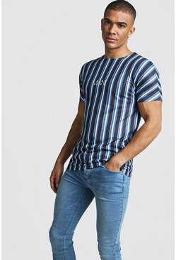 Mens Navy Original MAN Vertical Stripe T-Shirt