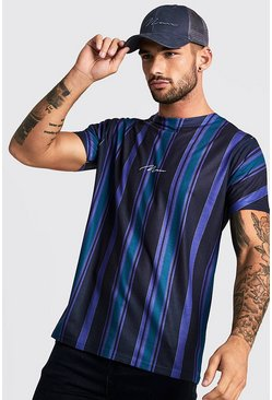 Mens Black MAN Signature Vertical Stripe T-Shirt