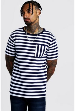 Mens Navy Striped Pocket T-Shirt