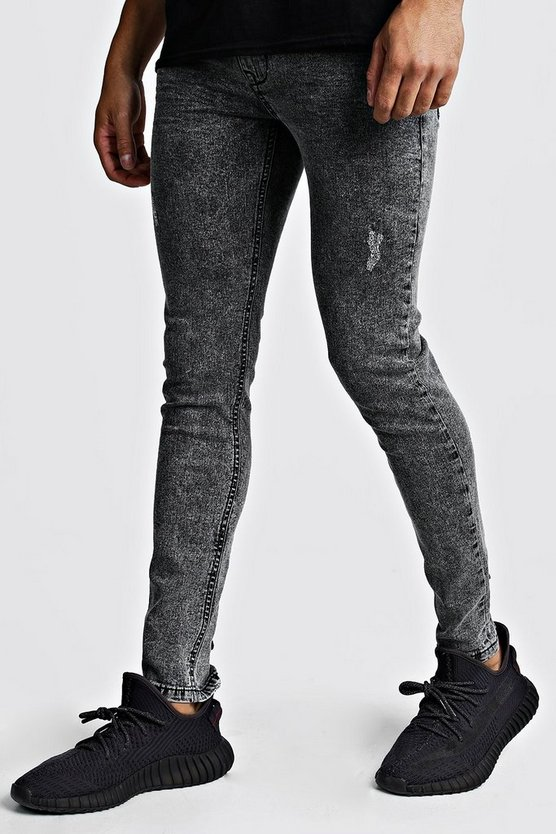 Mens Grey Super Skinny Distressed Jean