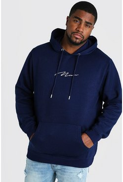 Navy Big and Tall MAN Script Hoodie