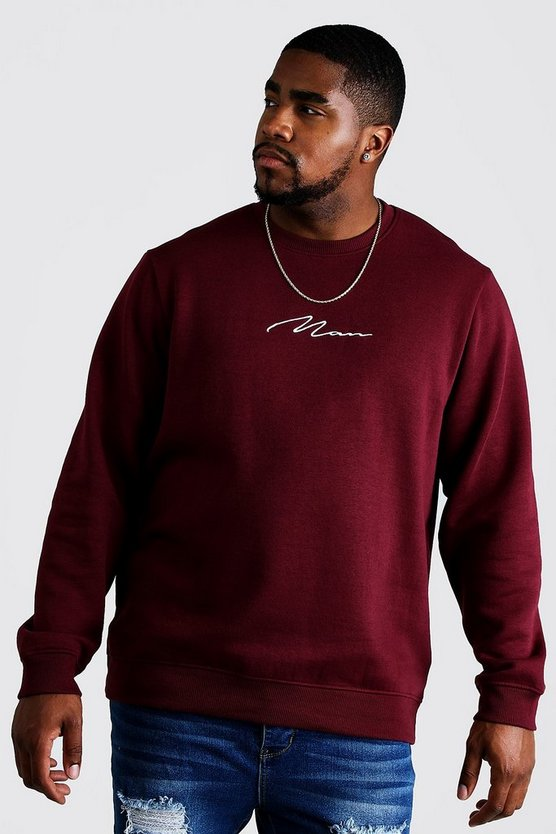 Wine Big and Tall MAN Script Sweater
