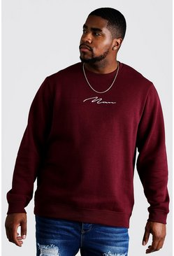 Mens Wine Big and Tall MAN Script Sweater