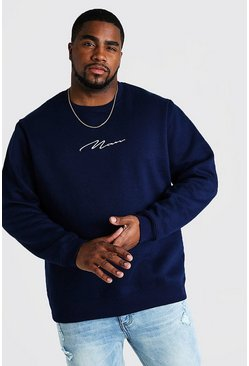 Mens Navy Big and Tall MAN Script Sweater
