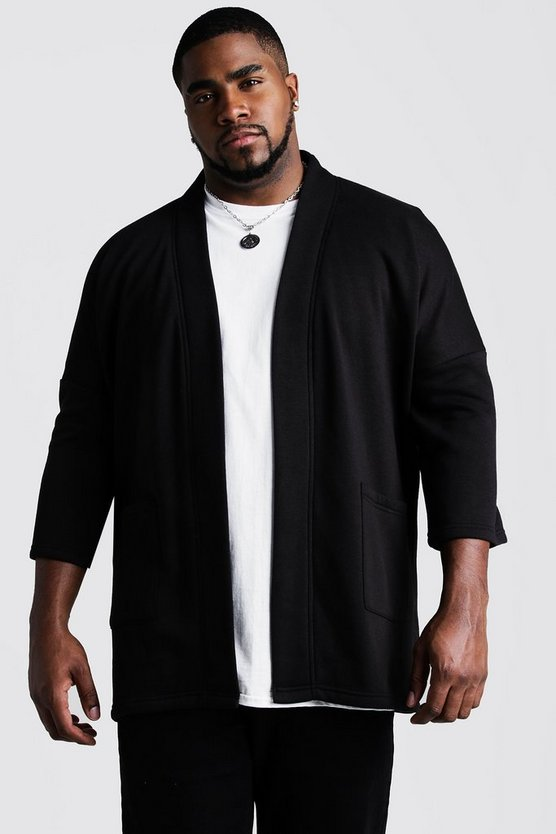 Black Big and Tall Jersey Kimono