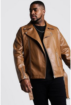 Tan Big And Tall Faux Leather Biker Jacket