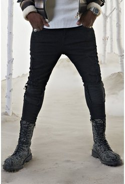 Mens Black Skinny Jean With ZIP Ankles & PU Biker Detail