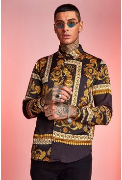 Mens Black Renaissance Print Long Sleeve Shirt