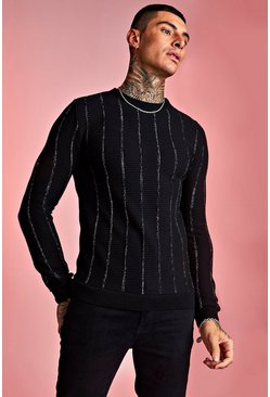 Mens Black Muscle Fit Crew Neck Knitted Jumper with Metallic Ribbing
