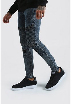 Mens Grey Skinny Biker Jeans With Zips