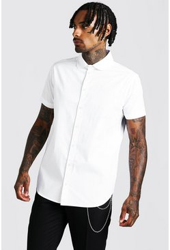 Mens White Smart Cotton Shirt With Penny Collar