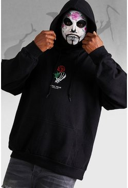 Mens Black Halloween Big And Tall Stay True Skeleton Hand Hoodie