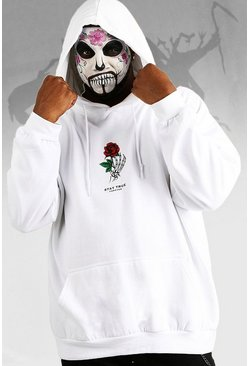 Mens White Halloween Big And Tall Stay True Skeleton Hand Hoodie