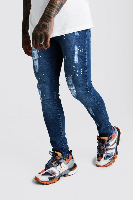 Mens Mid blue Super Skinny Distressed Paint Splatter Jean
