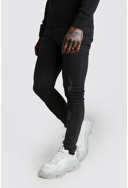 Mens Black Super Skinny Zip Detail Jeans With Raw Hem
