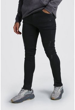 Washed black Super Skinny Zip Detail Jeans With Raw Hem