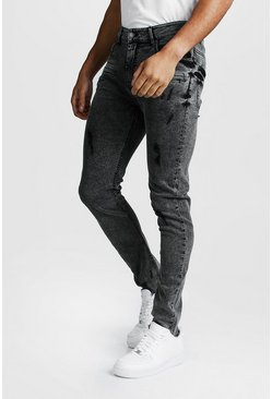 Mens Grey Super Skinny Zip Detail Jeans With Raw Hem
