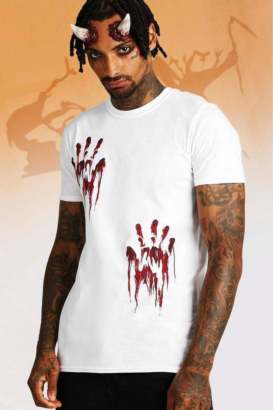 White Halloween Hand Print T-Shirt
