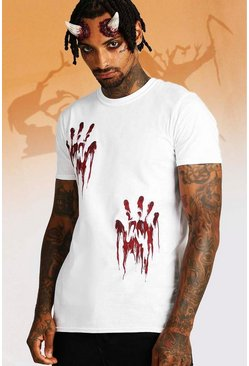 Mens White Halloween Hand Print T-Shirt