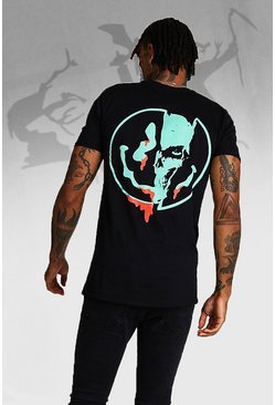 Mens Black Halloween Skeleton Back Print T-Shirt