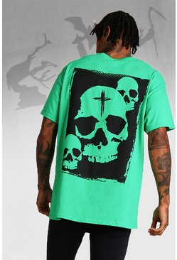 Mens Green Oversized Halloween Print Skull T-Shirt