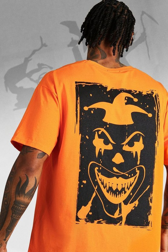 Mens Orange Oversized Halloween Back Print Clown T-Shirt