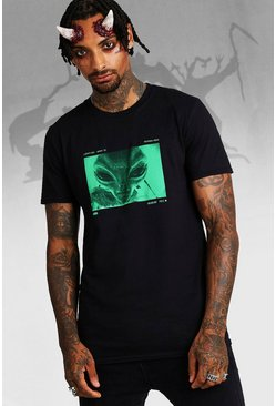Mens Black Halloween Alien Print T-Shirt