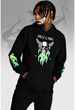Mens Black Halloween Hell Gang Skull Hoodie