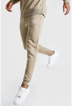 Mens Taupe MAN X Abode Skinny Fit Jogger
