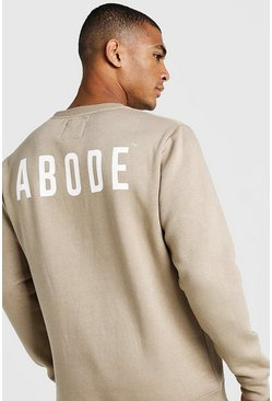 Mens Taupe MAN X Abode Regular Sweater