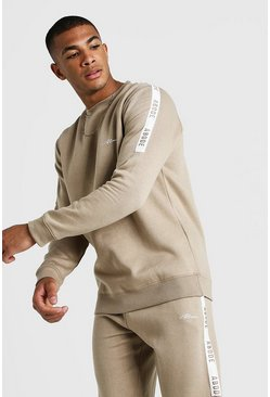 Mens Taupe MAN X Abode Sweater With Tape