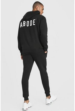 Mens Black MAN X Abode Skinny Hooded Tracksuit
