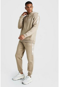 Mens Taupe MAN X Abode Hooded Tracksuit With Tape