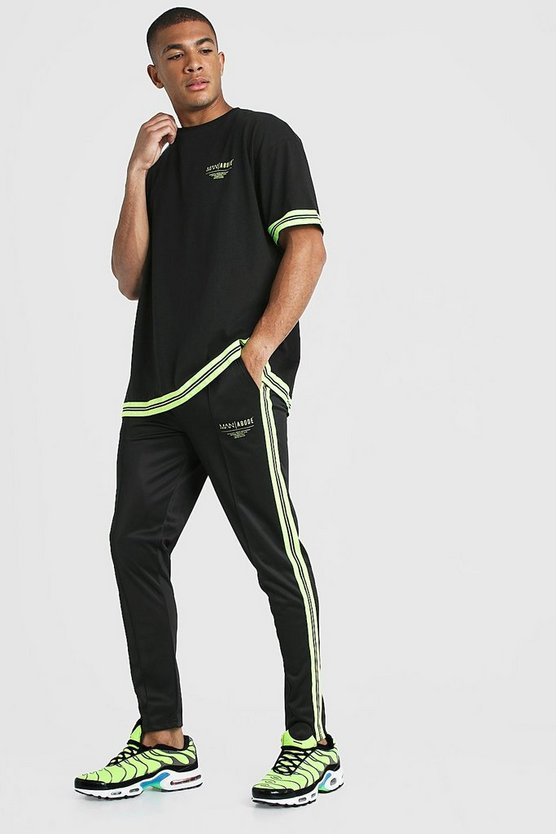 Mens Black MAN X Abode Oversized T-Shirt Tracksuit With Neon Tape