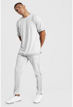 Mens Light grey MAN X Abode Oversized T-Shirt Tape Tracksuit