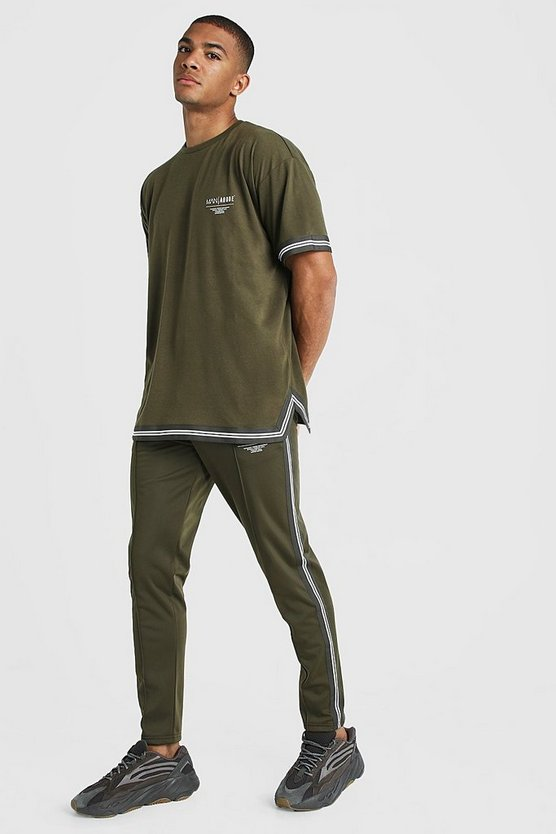 Mens Khaki MAN X Abode Oversized T-Shirt Tracksuit With Tape