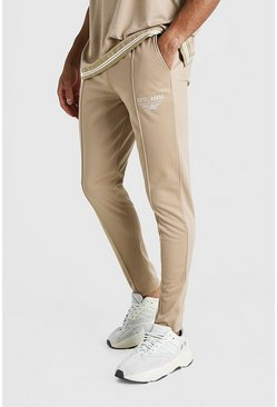 Mens Taupe MAN X Abode Tricot Pintuck Jogger