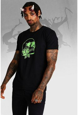 Mens Black Halloween Skull Front & Back Print T-Shirt