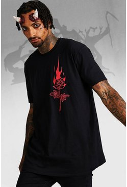 Mens Black Halloween Oversized Flaming Rose T-Shirt